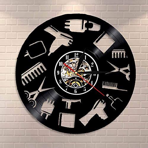 wtnhz LED Reloj de Pared de Vinilo Colorido Signo de la Pared barbería Apertura silenciosa de Cuarzo Reloj de Vinilo Registro celebración Exclusivo Hecho a Mano Arte del Vinilo de la Vendimia de c