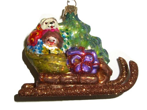 Weihnachtsbaumschmuck Weihnachtsmann im Schlitten Glas mundgeblasen handbemalt