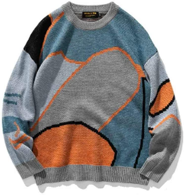 ZYING Men Cartoon Winter Wool Sweater Pullover Mens Neck Knitted Sweater Women Korean Casual Clothes (Color : B, Size : XXL Code)