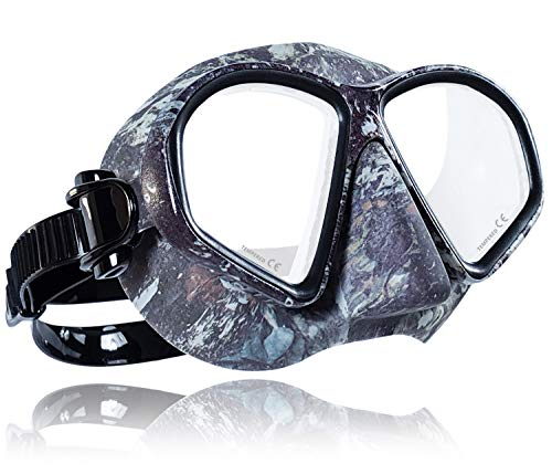 Tilos Spawn Camouflage Spearfishing Freediving Mask (Black Camo)