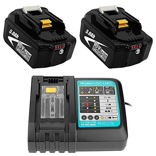 LICHENGTAI 2 x baterías Makita 18v 5ah, con Cargador rápido DC18RC, con indicador de operación Negro,con Cargador rápido para Makita BL1850 BL1840 DMR108 DMR110 DUH523Z, 14,4V-18V
