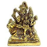 VRINDAVANBAZAAR.COM Lord Shiva, Parvati and Ganesha Shiv Family/Shiva Parivar Idol Statue (Small)(3 cm x 4.5 cm x 3.5 cm, Gold)  Showpiece Figurines   Idols   Sculptures