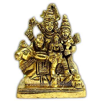 VRINDAVANBAZAAR.COM Lord Shiva Parvati and Ganesha Shiv Family/Shiva Parivar Idol Statue  Small  3 cm x 4.5 cm x 3.5 cm Gold | Showpiece Figurines | Idols | Sculptures
