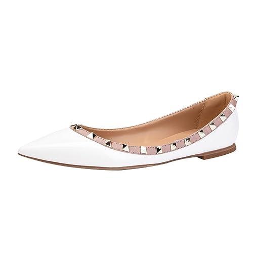 5ebb2a8573d9f Women's White Pointy Flats: Amazon.com