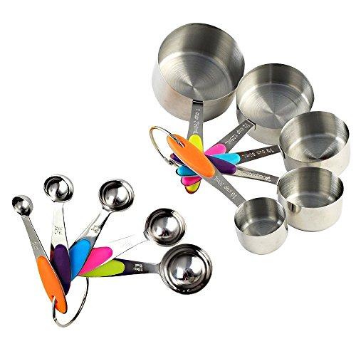 10er Set Edelstahl Messbecher Messlöffel Cup mit dem Silikon Griff für Küche Kaffee