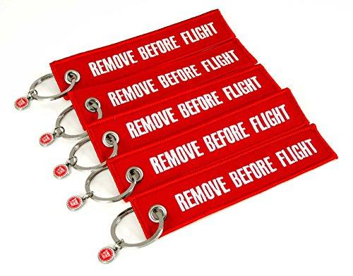 Schlüsselanhänger - Remove Before Flight - 5er-Set - Rot