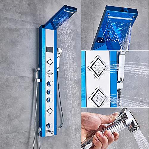 LED Duschpaneel mit 6 Funktionen aus rostfreiem Edelstahl mit Temperaturanzeige und 3 quadratischen Massagedüsen (Blau)