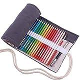 Amoyie Sacchetto della Matita Tela Rotolo Astuccio per 72 matite Colorate Portamatite (No Inclusa matite), Grigio