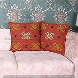Funda de cojín de yute, 45 x 45 cm, 2 fundas de almohada indias tejidas a mano, decorativas de yute, fundas de almohada, telares a mano,