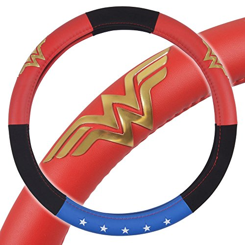 BDK Wonder Woman Steering Wheel Cover - Synthetic Leather - Stars & Gold...