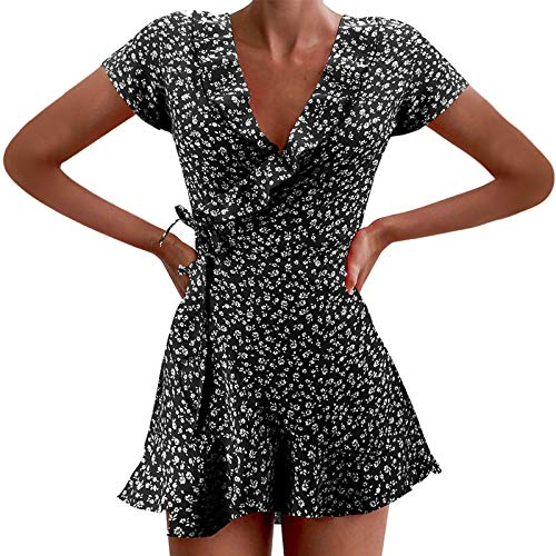 Damen Minikleid A-Linie Elegant Blumenmuster Freizeitkleider V Ausschnitt Kurzarm Sommerkleid Strandkleid Frühling Partykleid Hemdkleid