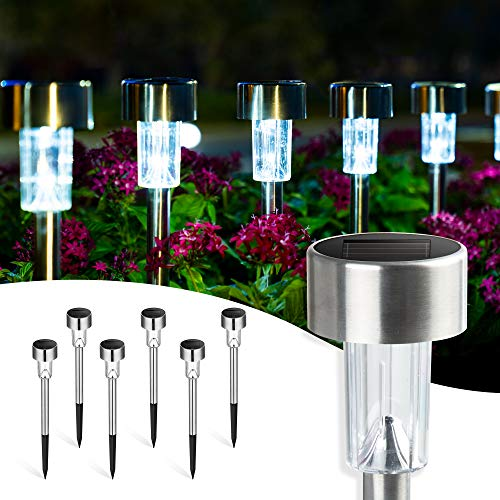 GIGALUMI Solar Pathway Lights 16 Pack, Solar Landscape Lights Outdoor Waterproof & Auto On/Off, Stainless Steel Solar Powered Garden Lights for Yard, Lawn, Patio, Path, Walkway or Driveway Cold White
