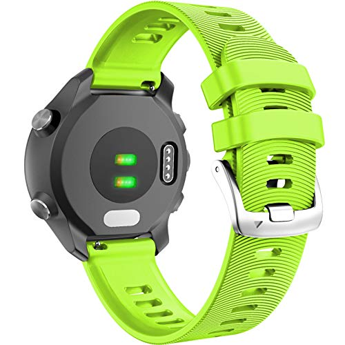 ANCOOL Compatible with Forerunner 245 Watch Bands 20mm Silicone Wristbands Replacement for Forerunner 245/645/Viomove HR/Vivoactive 3 Smartwatches, Green