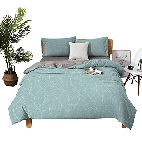 SUZM Teal and White 3 Piece Set Beautifully Printed on The Bed Traditional Arabic Tangled Lattice Pattern Oriental Ornament Easy to Install Breathable and Heat-dissipating Sheets Full (Do
