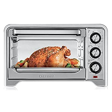 Chefman Toaster Oven, Countertop Convection Stainless Steel Oven w/Variable Temperature Control; X-Large 6 Slice; 6 Cooking Functions: Bake, Broil, Convection, Toast, Keep Warm & Defrost