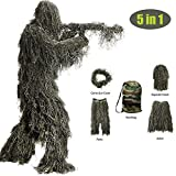 Ghillie Suit, 3D Camouflage Hunting Apparel 5-Piece Including Jacket, Pants, Hood, Rifle Wrap, Bag, Camouflage Camo Tactical Hunting Forest Woodland Ghillie Suit for Jungle Hunting, Shooting, Airsoft