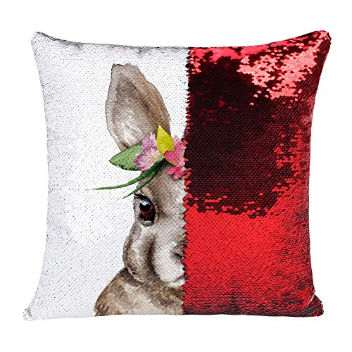 Yalatan Bunny Sequin Easter Pillowcase Golden, Soft Warm Cojín Fundas Sofá Sofá Silla Funda de Almohada, Square Throw Pillow Fundas