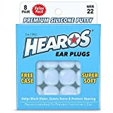 HEAROS Reusable Swimming Ear Plugs for Adults - One Size Fits All Mouldable Silicone Putty for Lasting Comfort; Waterproof Earplugs to Prevent Swimmers Ear, 8 Pairs with Case NRR 22 Hearing Protection