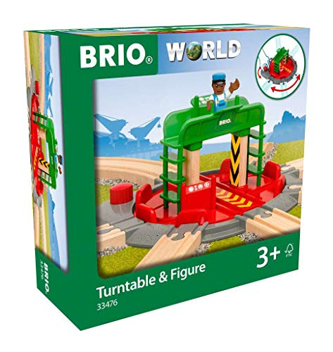 Brio World 33476 - Turntable & Figure - 2 Piece Wooden Toy Train Accessory for Kids Ages 3 and Up