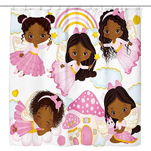 Kewwe Pink Ballett-Duschvorhang, süßes afrikanisches Mädchen, Ballerina, Rock mit 12 Haken, 152,4 x 182,9 cm