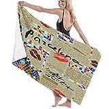 Grande Suave Ligero Microfibra Toalla de Baño Manta,Imitación Periódico Barcelona con Mosaicos Y Labios,Hoja de Baño Toalla de Playa por la Familia Hotel Viaje Nadando Deportes,52' x 32'