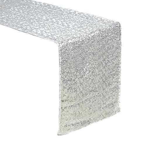 Sequin Table Runners SILVER- 12 X 108 Inch Glitter SILVER Table Runner-SILVER Party Supplies Fabric Decorations For Holiday Christmas Gift Wedding Birthday