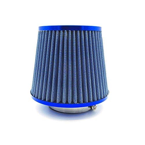 Heinmo Filtre d'admission d'air haut débit conique universel 76 mm Bleu