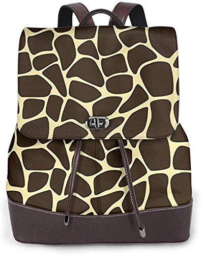Flyup Mochila de cuero PU para mujer Animal Print Giraffe Spots, Schoolbag Casual Daypack School Travel Bag...