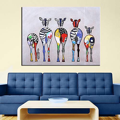 QWESFX Dibujos animados abstractos modernos cebra pintura al óleo colorida pared lienzo decorativo arte cuadros para sala de estar decoración del hogar E 60x120cm