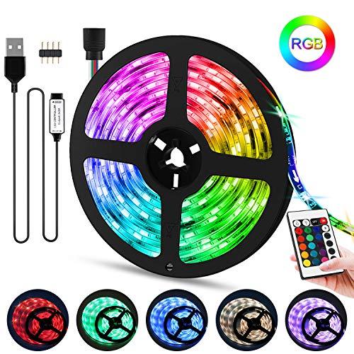 Sooair LED Strip USB 5m, RGB LED Streifen SMD 5050 LED Lichtband, IP65 Wasserdicht LED-Strip-Kit mit 24-Tasten IR-Fernbedienung für TV Beleuchtung, Balkon, Haus Deko [Energieklasse A+]