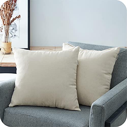 Topfinel Juego 2 Fundas Cojines Sofas de Algodón Lino Chenilla Duradero Almohadas Decorativa de Color sólido para Sala de Estar, sofás, Camas, sillas 60x60cm Beige