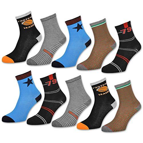 10 Paar Kinder Socken Jungen & Mädchen Baumwolle Kindersocken - 54333 (27-30, 10 Paar | Jungen)