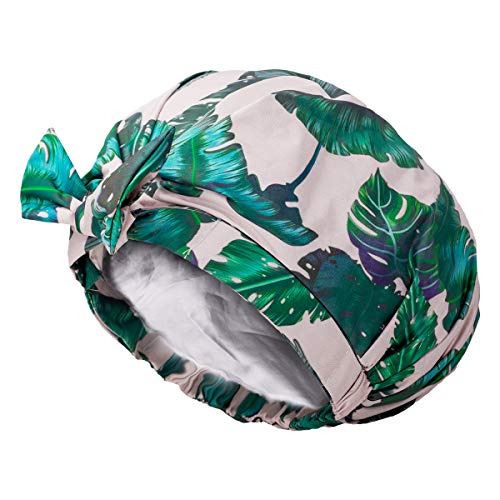Auban Shower Cap Reusable,Ribbon Bow Bath Cap Oversized Large Design With Moldproof and Waterproof Exterior for All Hair Lengths,Great for Girls Spa Home Use,Hotel and Hair Salon