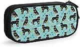 Bolsa para lápices con cremallera, bolsa de almacenamiento para suministros escolares y oficina, para mujeres, niñas, perros y juguetes, color azul