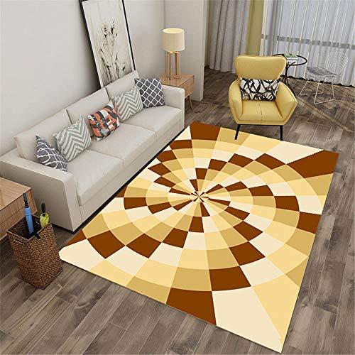 WQ-BBB Alfombraes Llprueba De Polvo Super Lujoso Suelo La Alfombrae Geometría Decorativa Efecto 3D Amarillo marrón Alfombra Antideslizante Alfombra Comedor 140X200cm