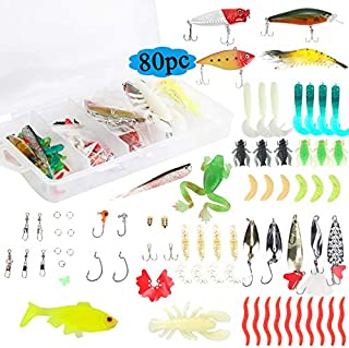 Fishing Lures Kit Set for Bass Trout, Fishing Tackle for Freshwater Saltwater with Topwater Lures, Fishing Hooks, Jigs, Crankbait, Spoon Lures, VIB, Minnow, Popper Fishing Knot Tying Tool