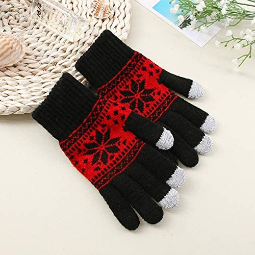Gloves Men Printed Simple Warm Soft Daily Knitting Winter Glove Mens Thicker Fashion Leisure Trendy Mittens Chic - (Color: black3, Gloves Size: One Size)