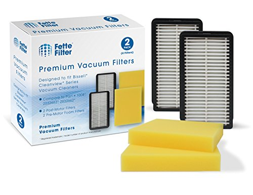 Fette Filter - Pre-Motor Foam and Post-Motor Filter Compatible with Bissell 1008 CleanView Vacuums. Compare to Part # 2032663 & 1601502, 203-2663 & 160-1502