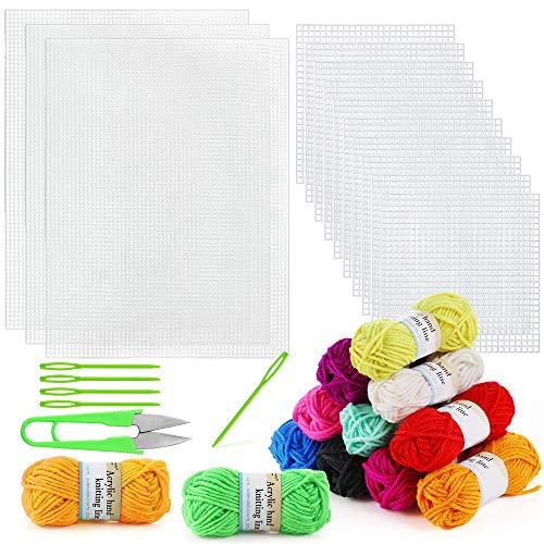 Pllieay Juego de 33 hojas de lona de plástico de malla que incluye 15 piezas de lienzo de plástico transparente, hilo acrílico de 12 colores y herramientas de bordado para bordado de plástico y lona