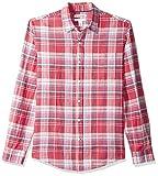 Amazon Essentials - Camisa de lino con manga larga, corte entallado y estampado para hombre, Escocés rojo, US XS (EU XS)