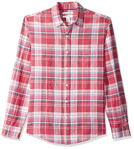 Amazon Essentials Herren-Leinenshirt, Langarm-Shirt, schmale Passform, gestreift, Red Plaid, US XL (EU XL - XXL)