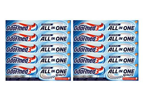 10x Odol-Med 3 Zahnpasta All in One Original, 75 ml Zuckersäuren-Schutz