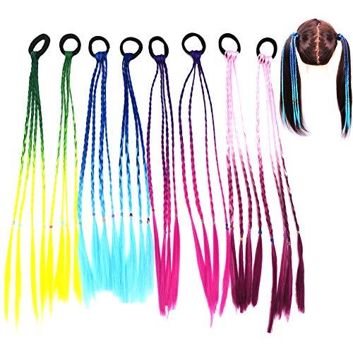 Bunte Haarsträhnen Kinder, Kinder Haarverlängerungen Geflochtenes Haargummiband, Farbverlauf Mädchen Haarteil Band mit elastischem Seilband für Kinder und Frauen - 8 Stk