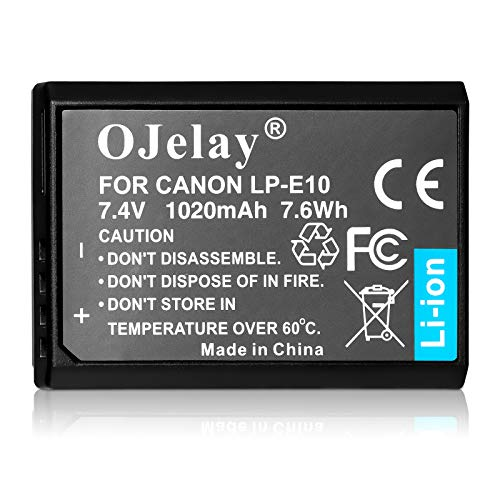 OJelay Replacement Canon LP-E10 Battery (1020mAh, 7.4V) Compatible with Canon EOS Rebel T7, T6, T5, T3, T100, Canon EOS 4000D, 3000D, 2000D, 1500D, 1300D, 1200D, 1100D, EOS Kiss X50, X70, X80, X90