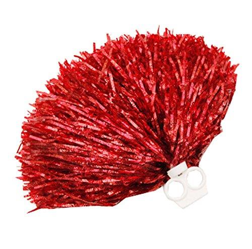 Black Temptation 2 PCS Feuille métallique et Anneau en Plastique Pom Poms Cheerleading, Rouge