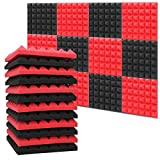 12 PCS Acoustic Sound Foam Panels 12 x 12 x 2 Inch Wall Soundproofing Panel Noise Proof Pyramid Studio Foam, 6 Red & 6 Black
