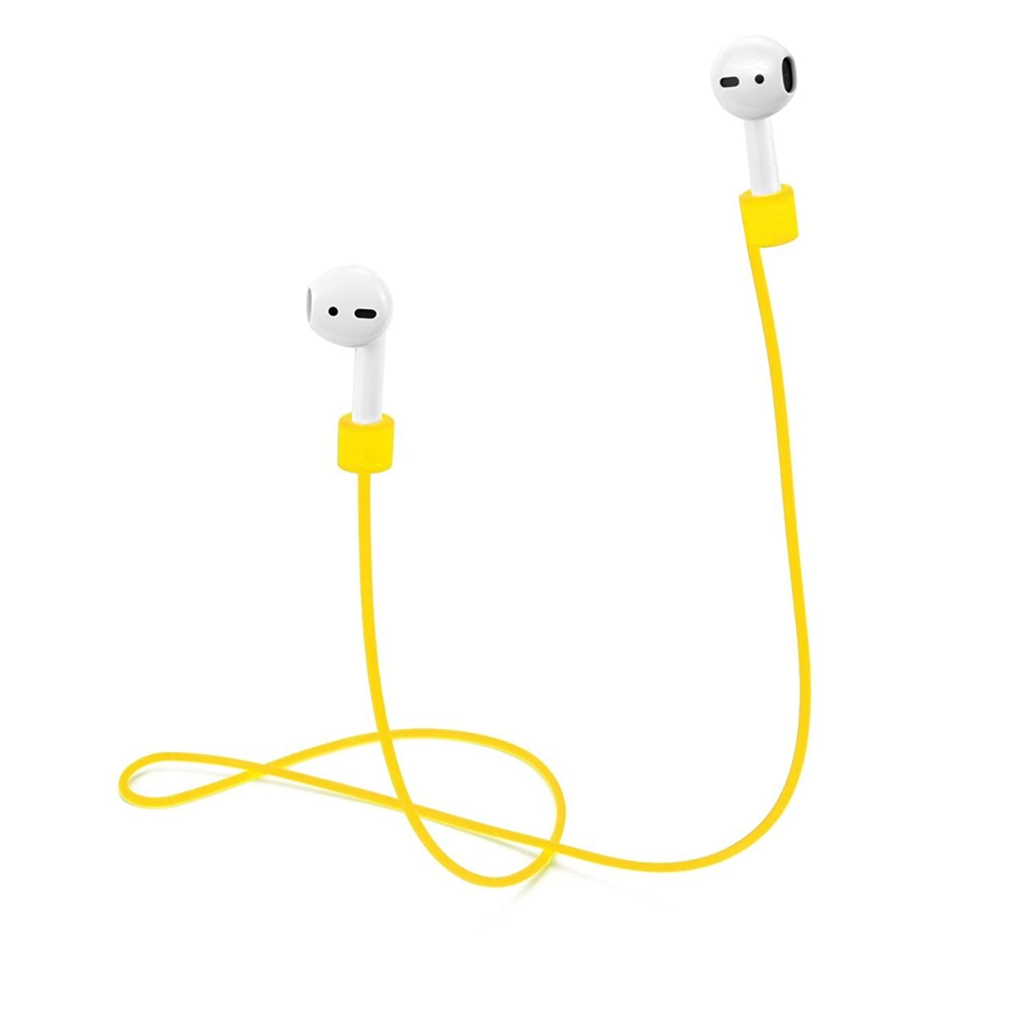 TOP CASE - AirPods Strap, Soft Silicone Sport Earphones Anti-Lost Strap, Wire Cable Connector for Apple AirPods Wireless Headphones - Yellow