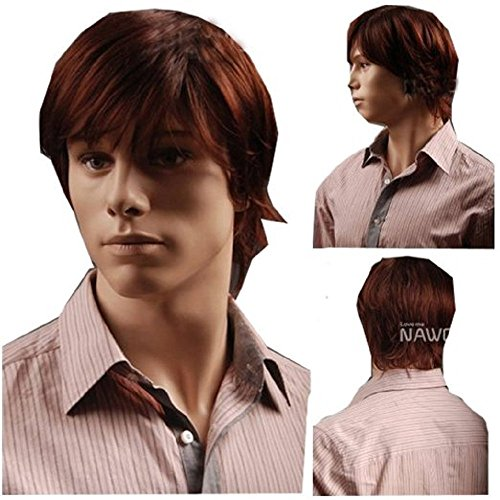MELADY(Free Cap) Fashion Casual Red-Brown Fluffy Short Straight Synthetic Men Office Hair Replacement Wigs