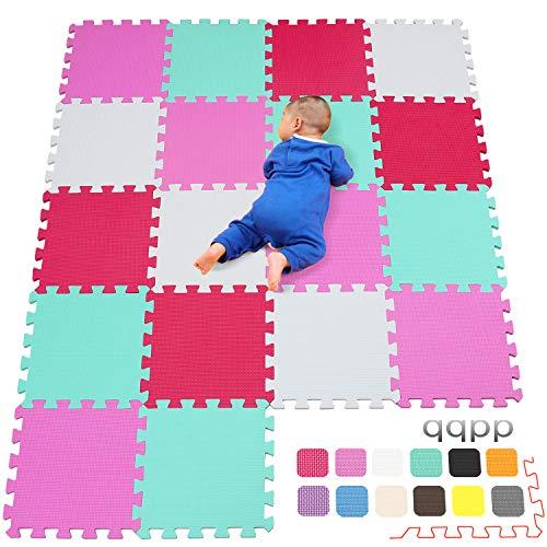 qqpp Alfombra Puzzle para Niños Bebe Infantil - Suelo de Goma EVA Suave. 18 Piezas (30 * 30 * 1cm), Blanco,Rosa,Verde,Rojo. QQC-ACHIb18N