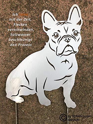 Terma Stahldesign Französische Bulldogge höhe 30 cm, Bully, Edelrost Gartenfigur, Hund, Rostfigur, Rost Figur